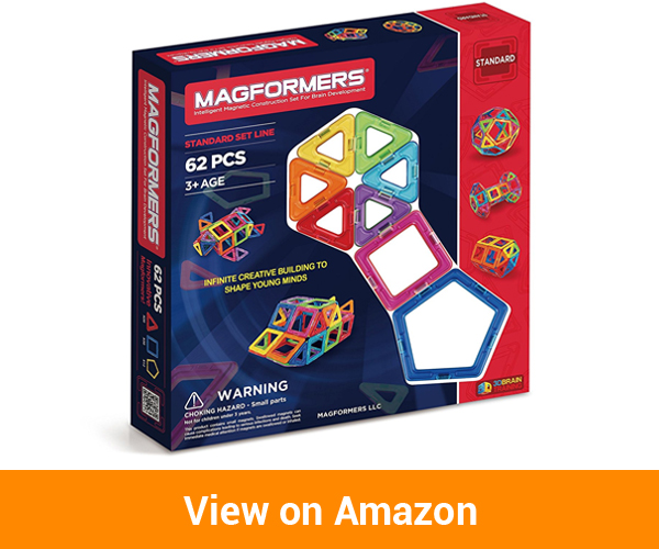 Magformers Basic Set (62-pieces) Magnetic Building Blocks
