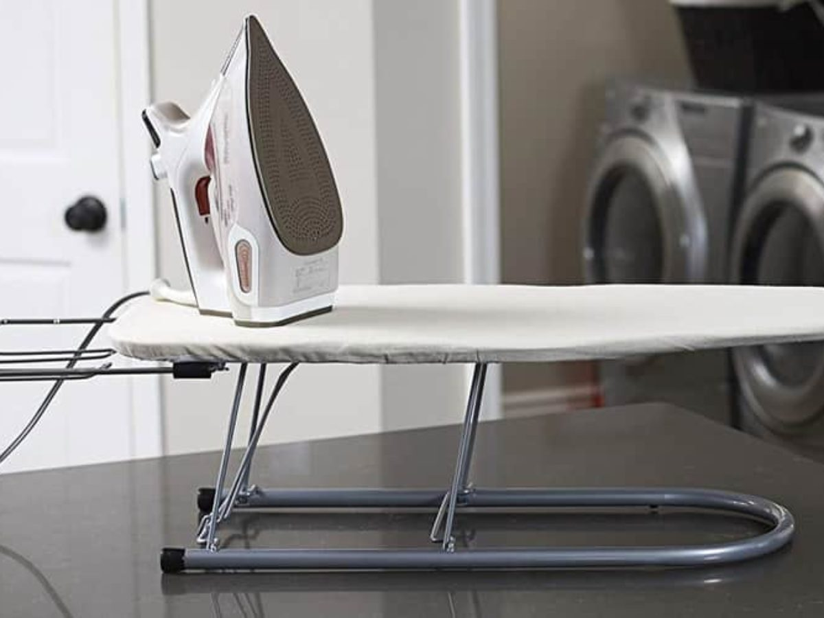 Household Essentials Steel Table Top Ironing Board with Iron Rest 12-Inch x 30-Inch