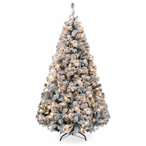 Best Choice Products Pre-Lit Snow Flocked Pine Tree