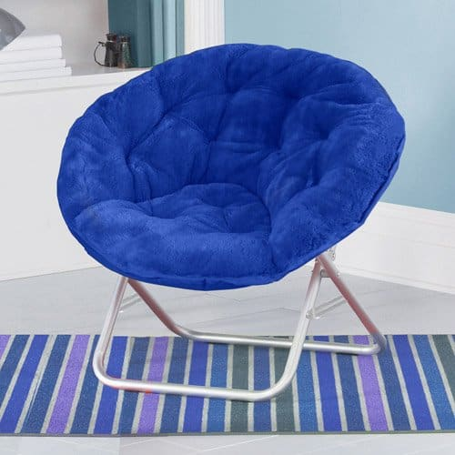 Mainstay Blue Plush Saucer Moon Chair