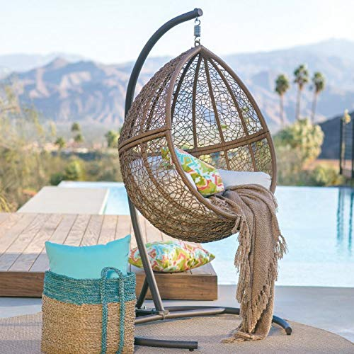 Outdoor Collection Resin Wicker Hanging Egg Chair