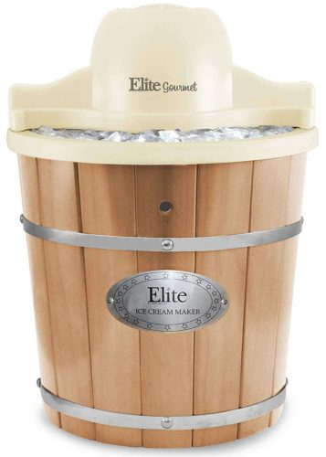 Elite Gourmet Wood Bucket Ice Cream Maker