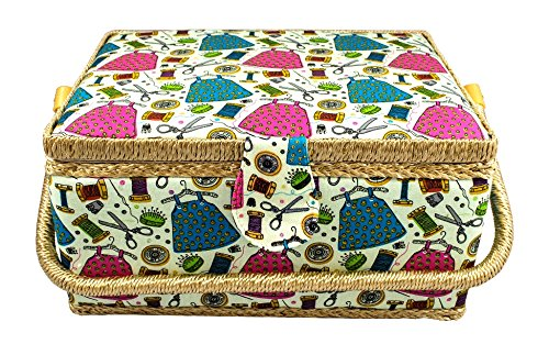 Tidy Crafts Large Fabric Covered Sewing Basket