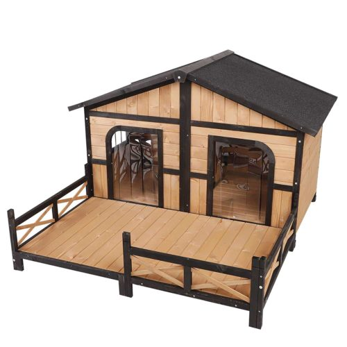 PawHut Cabin Style Elevated Outdoor Pet Dog House