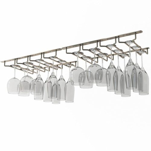 Wallniture Under Cabinet Stemware Glass Hanger Rack