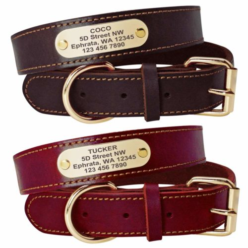 Beirui Genuine Leather Personalized Dog Collars
