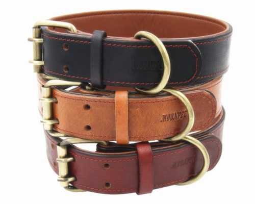 Moonpet Soft Padded Real Genuine Leather Collar