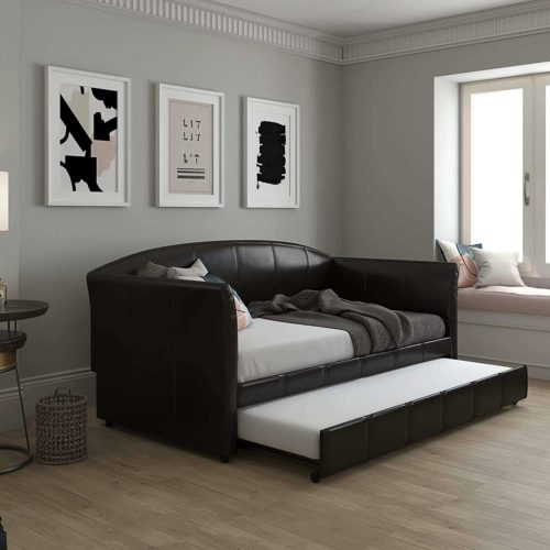 DHP Halle Faux Leather Twin Daybed with Trundle Bed