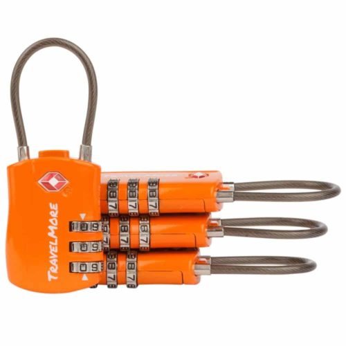 TravelMore 4 Pack Travel Combination Cable Luggage Locks