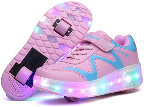 Aikuass USB Chargeable LED Light Up Roller Shoes