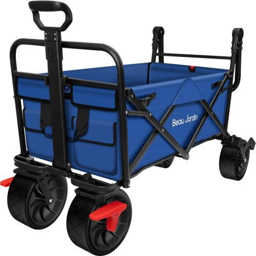 BEAU JARDIN Folding Wagon Cart with Brakes