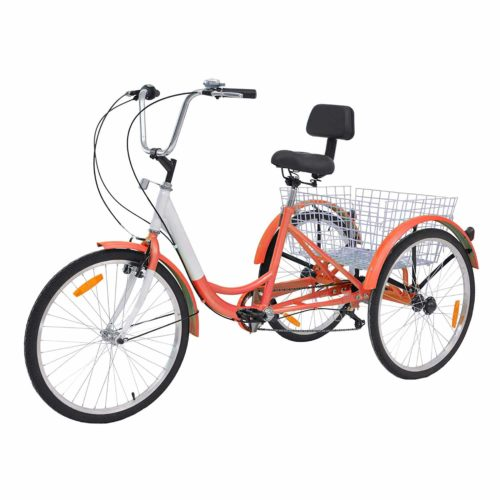 Water-Proof Bag and Bicycle Bell 24//26 Wheels Trike for Men and Women Single Speed Cruise Bike HIRAM 3-Wheeled Adult Tricycle with Rear Basket Exercise Bike for Recreation and Shopping