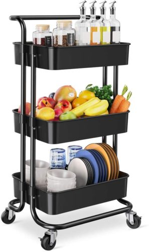 Homemaxs 3 Tier Rolling Utility Storage Cart