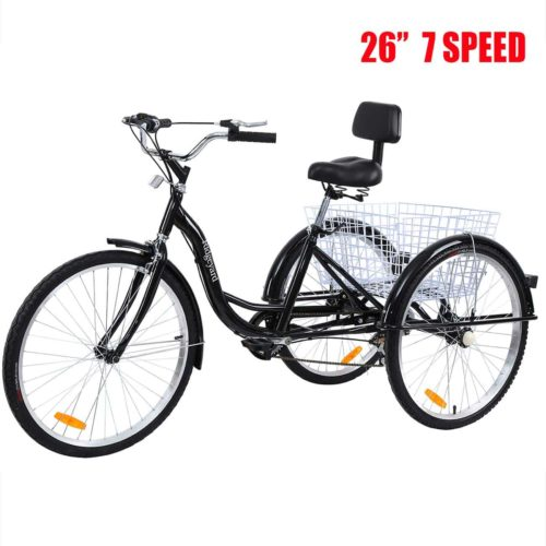 "20/"" Folding 7 Speed Tricycle Portable Bicycle 3 Wheel Foldable Trike Bike Cyan"