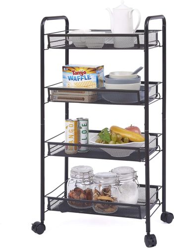 OVICAR 4 Tier Mesh Wire Rolling Cart