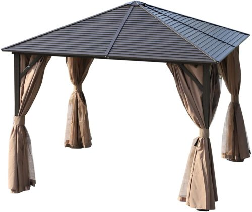 Outsunny Steel Hardtop Gazebo with Mosquito Netting and Curtains