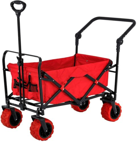 Red Wide Wheel Wagon All-Terrain Folding Utility Wagon