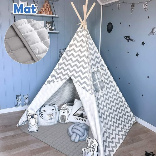 Tiny Land Teepee Tent for Kids with Mat