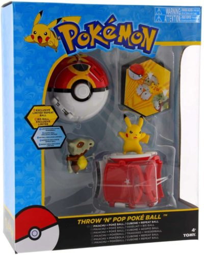 Tomy Pokemon Throw 'N' Pop Duel Pikachu Pokeball & Cubone Ball Figure Set