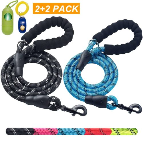 WATFOON Premium Extra Heavy Duty Dog Chain Leash,Perfect Metal Dog Leashes with Soft Padded Leather Handle for Large /& Medium Size Pets Walking,Traffic Training and Traveling