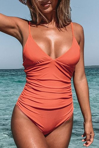 CUPSHE Women's Shirring Design One Piece Swimsuit