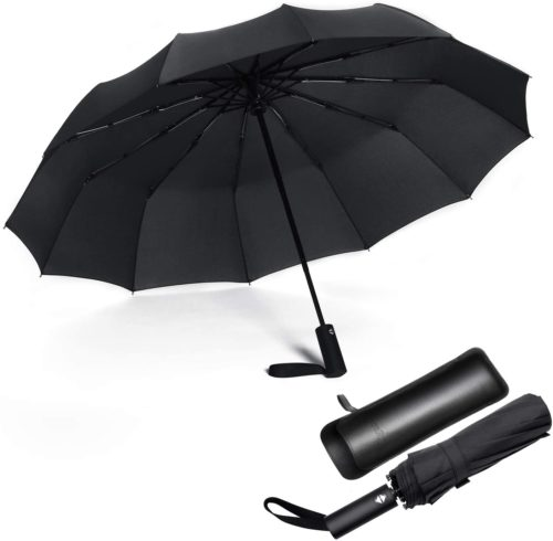 8 Ribs Finest Windproof Eyeball Umbrella with Teflon Coating Auto Open Close and Upgraded Comfort Handle Travel Umbrella
