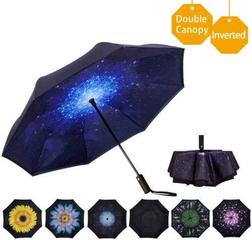 SLEPOPO Inverted Umbrella,Windproof UV Protection Big Straight Umbrella with C-Shaped Handle and Carrying Bag Harlequin Diamonds Color Double Layer Reverse