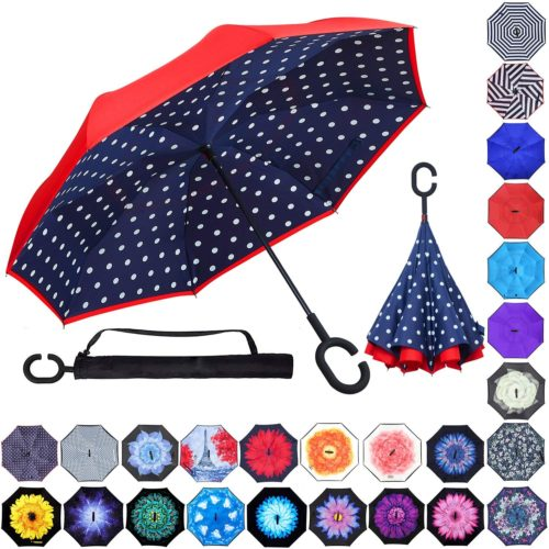 S200US Jungle Bear and Deer Inverted Reverse Umbrella Sun/&Rain Car Large Windproof Travel UV Umbrella
