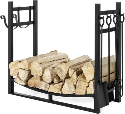Best Choice Products 43.5in Steel Firewood Log Storage Rack