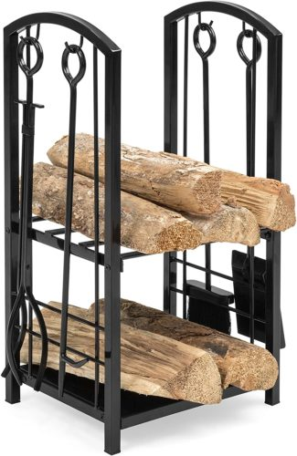 Best Choice Products Wrought Iron Firewood Log Storage Rack