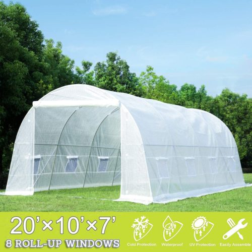 Portable Plant Greenhouse Waterproof Warm Walk-In Greenhouse with Clear Cover Flower Plants Outdoor Garden Green House