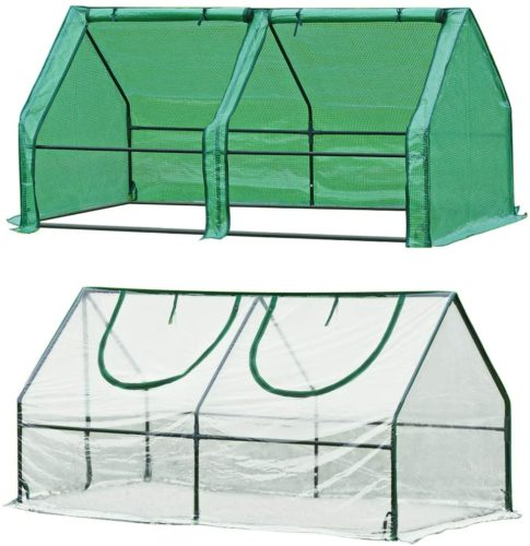 Quictent 2 Covers Reinforced Mini Cloche Greenhouse