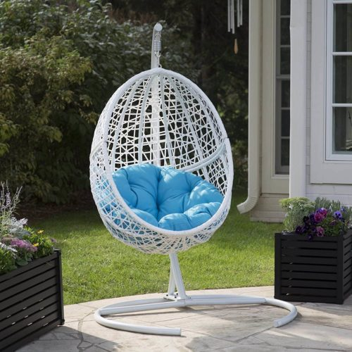 Belham Living White Resin Wicker Hanging Egg Chair