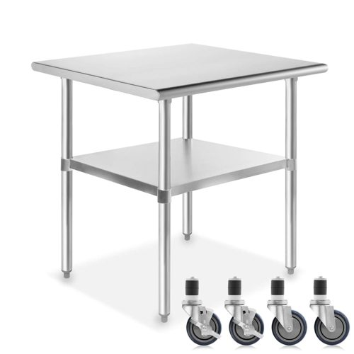GRIDMANN NSF Stainless Steel Commercial Kitchen Prep & Work Table with Wheels